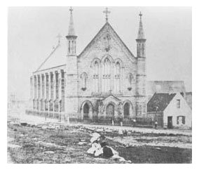 The earliest known photograph of St Patrick's, taken around 1868, when the Marist Fathers were given care of the parish
