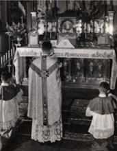 Tom Maloney celebrates Mass at St Patrick's in the early 1950s